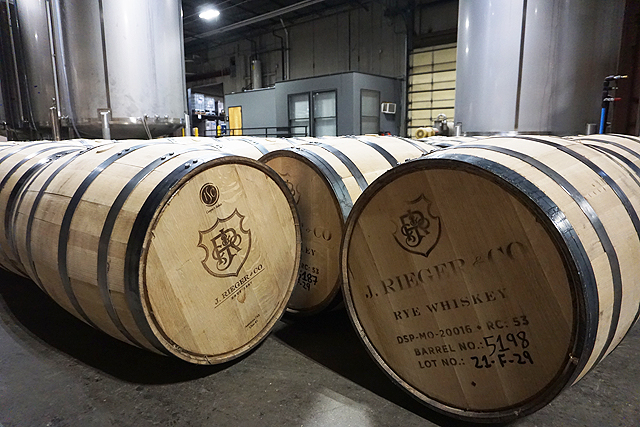Barrels of Rieger Whiskey